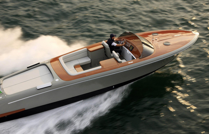 """The luxury Retro Riva speed boat, Aquariva by industrial designer Marc Newson."" marc newson Marc Newson Designs Limited Edition Luxury Speedboat for Riva 15   15"