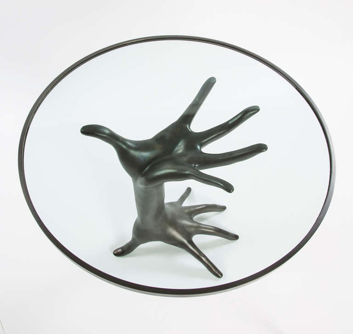 """A stunning and unique occasional table inspired Kelly's continuing interest in figurative decor."" Limited Edition Double Hand Table by Kelly Wearstler Limited Edition Double Hand Table by Kelly Wearstler 36"