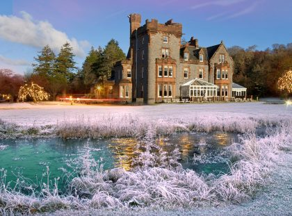 4 Luxury Hotels for The Most Glamorous New Years Eve Day 2017 new years eve day 4 Luxury Hotels for The Most Glamorous New Years Eve Day 2017 Eriska hotel at christmas from pond 420x311