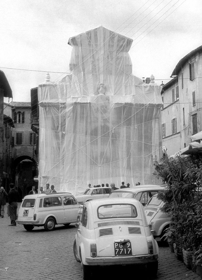 christo Christo – The Famous Artists Who Wrapped The World  medieval tower and a fountain in Spoleto