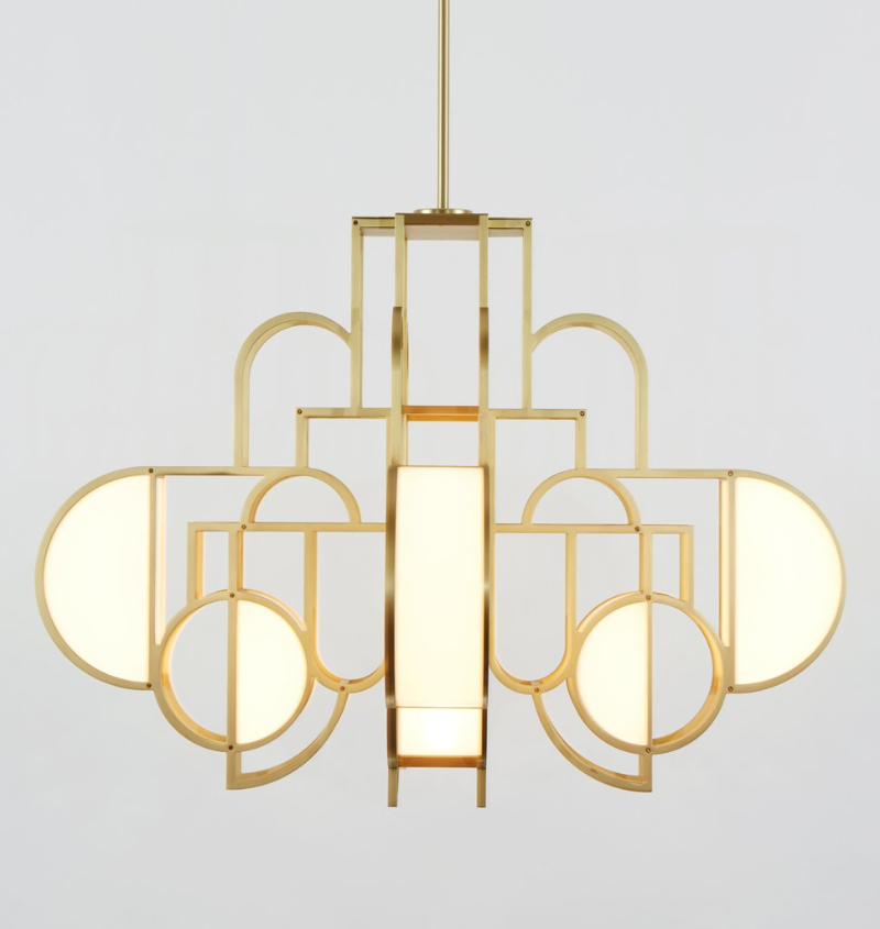 Lara Bohinc & Roll & Hill's Exclusive Lighting Collection, Inspired By Lunar Phases  lara bohinc Lara Bohinc & Roll & Hill's Exclusive Lighting Collection, Inspired By Lunar Phases MoonriseChandelier brass2 1024x1024 1
