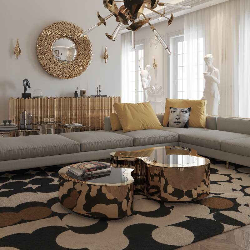 Luxury Living Room With Golden Details
